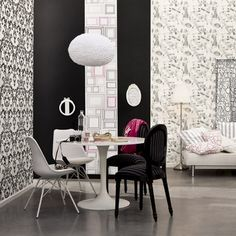 Heloise Wallpaper from Caselio - LOV 6393 90 63 Love Wallpaper, Designer Wallpaper, Cole And Son, Designers Guild, Dining Chairs, Interior Design, Fabric, Inspiration, Furniture