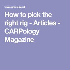 How to pick the right rig - Articles - CARPology Magazine