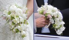 The bride's bouquet included astilbe, sweet pea, peony, freesia and waxflower. Pippa Wedding Bouquet Two 2 Shots