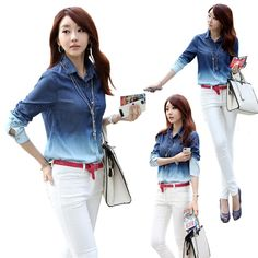 Vintage Women Lady Long Sleeve Blue Jean Blouse Denim Shirt Retro Loose Top XE3059#S10