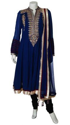 Navy Blue Georgette Anarkali Suit | Strandofsilk.com - Indian Designers