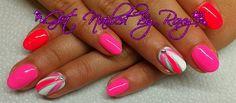 Hot Pink & White mani with stripes & rhinestone  www.GetNailedByRoxy.com #nails #summer