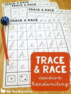 Fun Cursive Handwriting Pages - Trace and Race - This Reading Mama