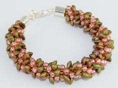 Pink and Brown Kumihimo Bracelet by Anjewelz on Etsy, $35.00