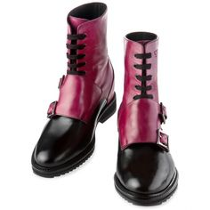 Upper in calfskin (shiny fuchsia and black), lining in soft goatskin, cotton waxed shoe laces. Hand Made in Italy.