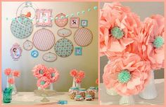love love love the color combo of aqua + pinky coral...and the tissue pom flowers with yarn pom pom centers!