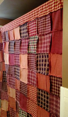 Primitive Shower Curtain Handmade Rag Quilt by AngelKaringQuilts