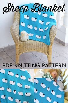 Super sweet knitting pattern for this cute sheep blanket! Would make a great baby gift! Baby Hat Patterns, Crochet Blanket Patterns, Knitting Patterns Free, Baby Sheep, Cute Sheep, Knitted Afghans, Crochet Blankets, Tricot Simple, Sitting Room Decor