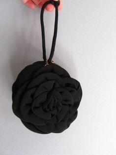 1940s black rose dance purse