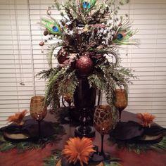 Peacock Christmas Tablescape