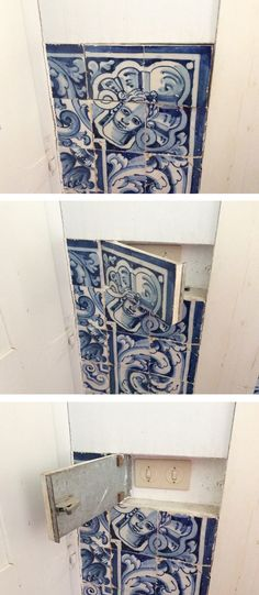 Surely a 1960s innovation which is nevertheless curious as a way to conceal 20th c. ammenities inside the jambs of a Baroque palace. Pivot-hinged switch covers in blue and white azulejos!