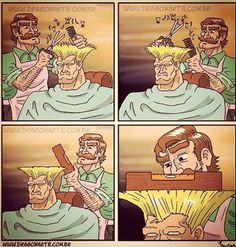 "Guile from Street Fighter getting a ""precise"" haircut."