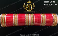 """Punjabi Traditional """"Kundan Red Wedding Churra""""  Item Code - PTJ CH109  For price please inbox with Image or WhatsApp at this number +91 9914721111 or you can email us at Punjabijewellery@gmail.com #punjabi #traditional #Red #kundan #wedding #chura #choora #punjabichura #sikhwedding #indianwedding"""