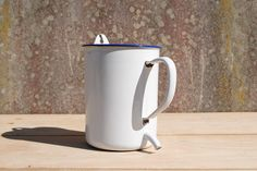 vintage French Enamel Measuring Jug with Spout For Sale at www.theoriginalfrenchfurniturecompany.com
