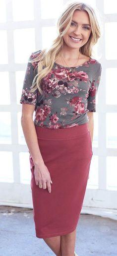Cassie Pencil Skirt (Muave)