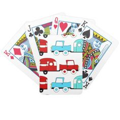 Retro Camping Trailer Turquoise Red Vintage Cars Playing Cards SOLD on Zazzle