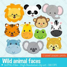 Wild Animal Faces Animal clipart Clip art by pixelpaperprints