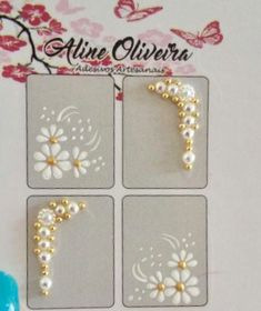Gold Manicure, Manicure Y Pedicure, Flower Nail Designs, Nail Art Designs, Summer Design, White Glitter, Flower Nails, Ring Finger, Tribal Prints