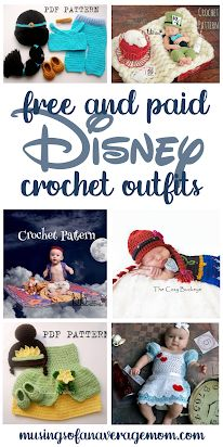20+ Free and Paid Disney Crochet Outfit Patterns, great for baby's first Halloween or photo shoots!