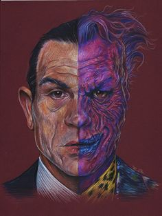 The terrifying Two-Face in colored pencils by Zachary Jackson Brown. Follow thebatsblog.tumblr.com and visit www.zacharyjacksonbrownart.com for more art!