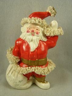 Vintage Waving Spaghetti Santa Claus with Sack Figurine