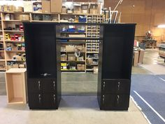 Custom storage lockers with coat rack between