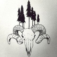 Ram Skull Print 9x12 by MagicBrotherhood on Etsy, $20.00