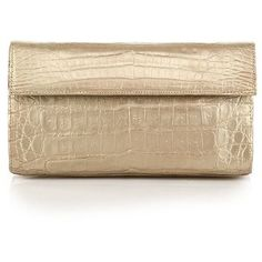 Nancy Gonzalez Small Structured Metallic Crocodile Flap Clutch (34.515.395 VND) ❤ liked on Polyvore featuring bags, handbags, clutches, bolsas, apparel & accessories, pale gold, metallic purse, structured handbag, gold clutches and evening handbags