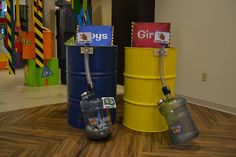Fun way to collect mission money at #TimeLab #VBS2018 -- use old 55-gallon drums and 5-gallon water containers!
