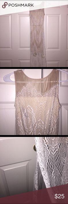 Selling this Long white and tan lace maxi on Poshmark! My username is: nanoush88. #shopmycloset #poshmark #fashion #shopping #style #forsale #Charlotte Russe #Dresses & Skirts
