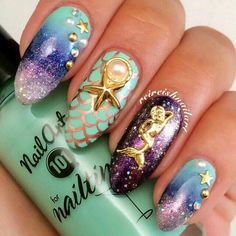 Under the sea nail design with mermaid charm #nails #naildesign #nailart