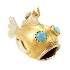 Turquoise Multi-Gold Fish Pendant