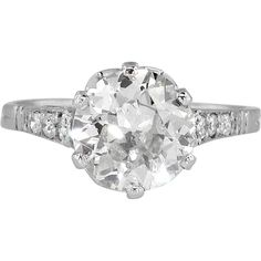 Incredible 1930's 2.32ctw Old European Cut Diamond Engagement Ring Platinum