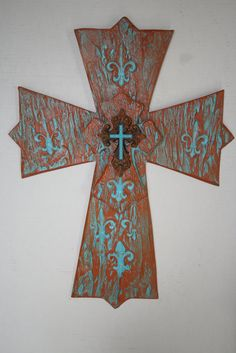 Southwest Angel Cross by davinciandvine on Etsy,  Turquoise and terra cotta, Kokopelli might buy his girlfriend this. Santa Fe feel. great gift or home decor item.  $59.00