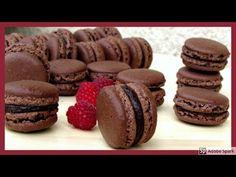 Čokoládové makronky. - YouTube Macarons, Cheesecake, Muffin, Cookies, Chocolate, Breakfast, Desserts, Food, Youtube