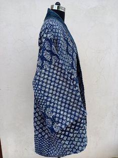 Coats For Women, Jackets For Women, Clothes For Women, Indigo Prints, Kimono Jacket, Kimono Style, Kimono Top, Patchwork Designs, Vintage Coat