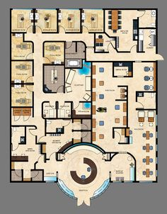 absolutely everything you could ask for in a salon/spa plan design Spa Design, Spa Interior Design, Design Ideas, Beauty Salon Design, Beauty Salon Interior, Hotel Floor Plan, Office Floor Plan, Planer Layout, Floor Plan Layout