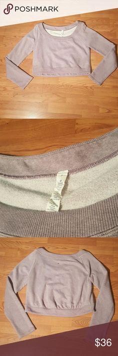 Lululemon Sz 8 cropped sweatshirt crew Lululemon Sz 8 cropped sweatshirt crew, lt lilac color, some slight pilling but overall GUC! lululemon athletica Tops Sweatshirts & Hoodies