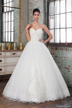 justin alexander signature spring 2016 gorgeous wedding ball gown strapless beaded embroidery bodice 9811 #ballgown #weddingballgown