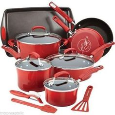 Rachel-Ray-Cookware-Set-red-pots-pans-hard-enamel-non-stick-14-piece-kitchen  R 136.00