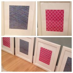 Framed wrapping paper. Ikea frames. Paper source paper.