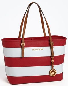 Michael Kors OFF!>> Michael Kors red and white striped tote bag Sac Michael Kors, Cheap Michael Kors, Michael Kors Outlet, Coach Purses, Coach Bags, Purses And Bags, Chloe Purses, Tote Bags, Mk Bags