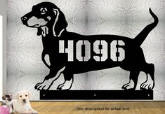 Dachshund - Custom Address Sign 17 x 12 Dog House Number Steel Hand Made Metal Sign