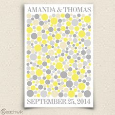 Wedding Guest Book Alternative - Radiah Multi - Peachwik Signature Guest book Poster - 300 guest sign in - Yellow Gray Circles Guestbook. $65.00, via Etsy.