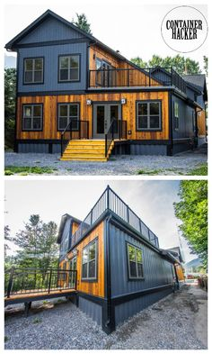 Luxury Shipping Container House – Canada This house in Exshaw, Bow Valley, Canada is unique and interesting. Six 40 foot shipping containers have been used in the build which were modified 'off site' which makes the build much quicker. Building A Container Home, Storage Container Homes, Tiny Container House, Cargo Container Homes, Container Architecture, Architecture Design, Sustainable Architecture, Contemporary Architecture, Shipping Container Home Designs