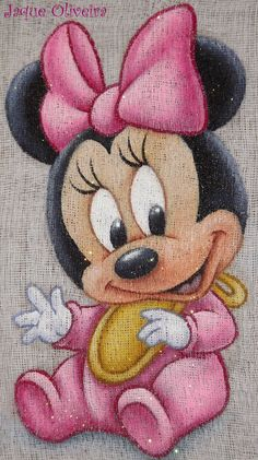 Pintura em fralda. Painting in diaper. #minnie #baby #pintura #painting…