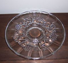 Vintage Indiana Glass - Garland Fruit Pattern - Clear Pedestal Torte Plate