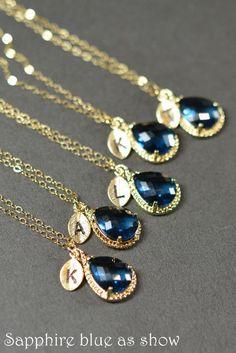 Sapphire blue gold necklace Bridesmaid Wedding by thefabwedding2, $35.99