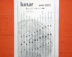 2015 lunar calendar - printable - wall calendar - instant download