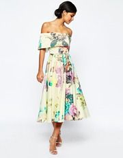 ASOS Premium Off The Shoulder Bardot Midi Prom Dress In Large Bright Floral